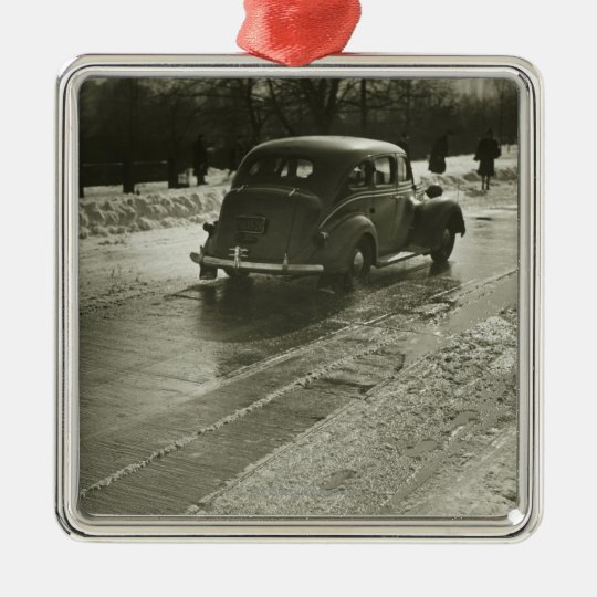 Car on the Road Metal Ornament