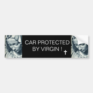 CAR PROTECTED BY VIRGIN ! BUMPER STICKER