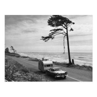Car Pulling Trailer Postcard