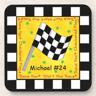 Car Race Fan Checkered Flag Name Personalized Coaster
