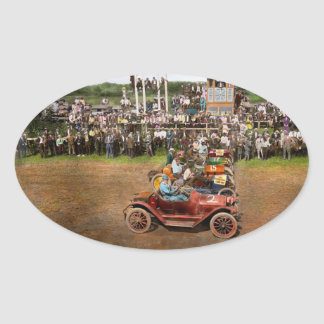 Car - Race - On the edge of their seats 1915 Oval Sticker