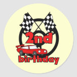Car Racing 2nd Birthday Tshirts and Gifts Classic Round Sticker