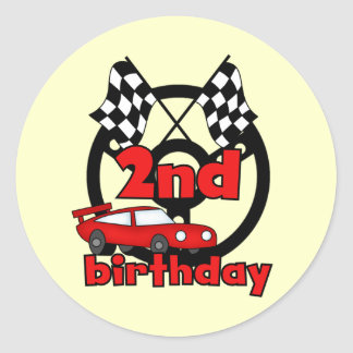 Car Racing 2nd Birthday Tshirts and Gifts Round Stickers