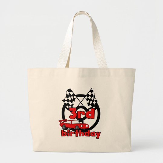 Car Racing 3rd Birthday Tshirts and Gifts Large Tote Bag