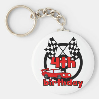 Car Racing 4th Birthday Tshirts and Gifts Basic Round Button Keychain