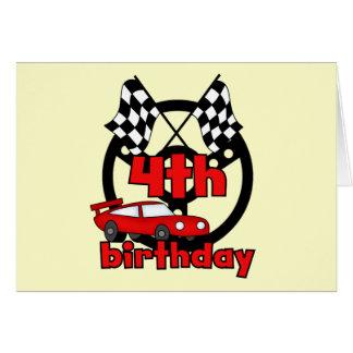 Car Racing 4th Birthday Tshirts and Gifts Card