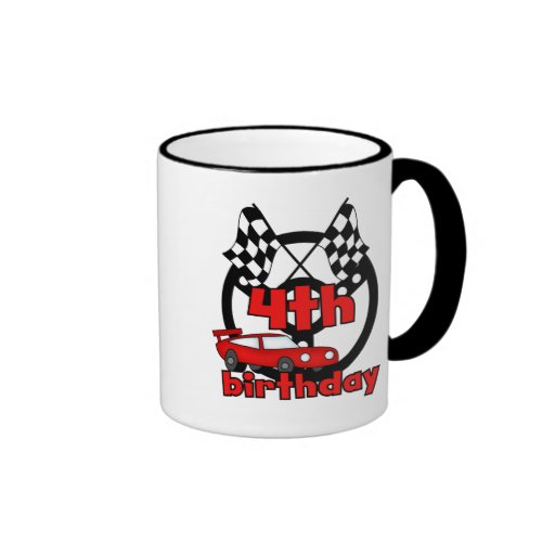 Car Racing 4th Birthday Tshirts and Gifts Coffee Mugs