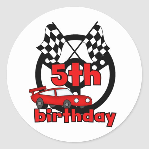 Car Racing 5th Birthday Tshirts and Gifts Classic Round Sticker