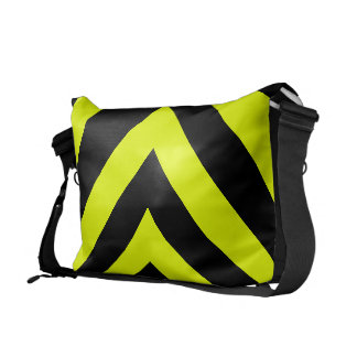 Car Racing Black and Yellow Arrows F1 Race Hazard Courier Bag