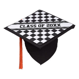 Car Racing / Chess Pattern + your backgr. & ideas Graduation Cap Topper
