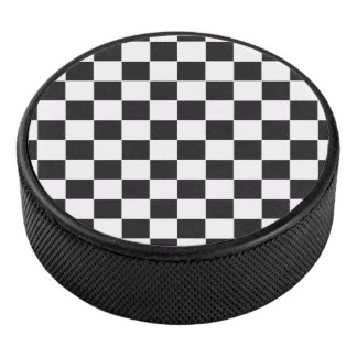 Car Racing / Chess Pattern + your backgr. & ideas Hockey Puck