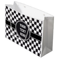Car Racing / Chess Pattern   your backgr. & ideas Large Gift Bag