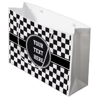 Car Racing / Chess Pattern + your backgr. & ideas Large Gift Bag