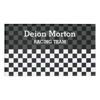 Car Racing / Chess Pattern + your backgr. & ideas Name Tag