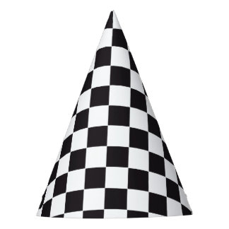 Car Racing / Chess Pattern + your backgr. & ideas Party Hat