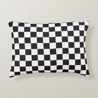 Car Racing / Chess Pattern + your backgr. & text Decorative Pillow