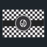 """Car Racing / Chess Pattern   your backgr. &amp; text Placemat<br><div class=""""desc"""">Abstract Pattern Design by EDDA Fr&#246;hlich / EDDArt 