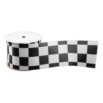 Car Racing / Chess Pattern   your backgr. & text Satin Ribbon
