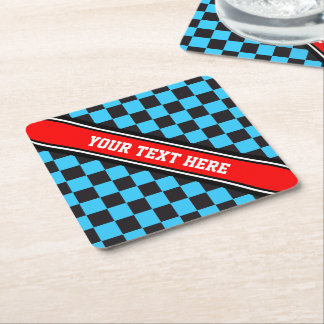 Car Racing / Chess Pattern + your backgr. & text Square Paper Coaster
