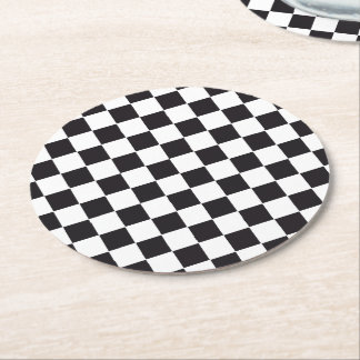 Car Racing / Chess Pattern + your backgr. & text Round Paper Coaster