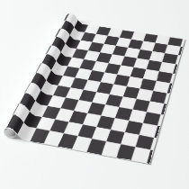 Car Racing / Chess Pattern   your backgr. & text Wrapping Paper