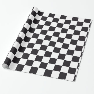 Car Racing / Chess Pattern + your backgr. & text Wrapping Paper