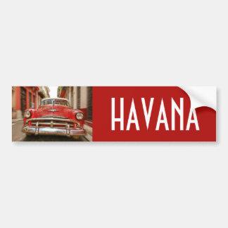 Car racing in the streets of old Havana, Cuba Car Bumper Sticker