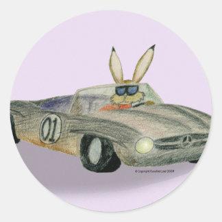 Car Racing Rabbit Classic Round Sticker