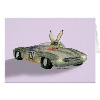 Car Racing Rabbit Greeting Card