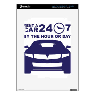 Car rentals by the hour or day 24-7 decals for iPad 3