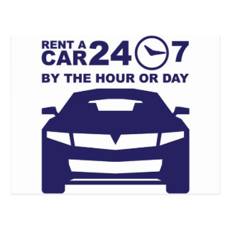 Car rentals by the hour or day 24-7 postcard
