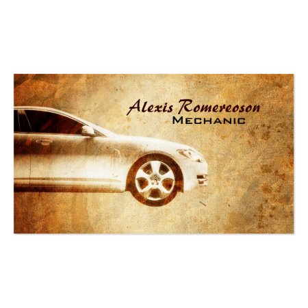 Golden Grunge Car Repair Business Cards
