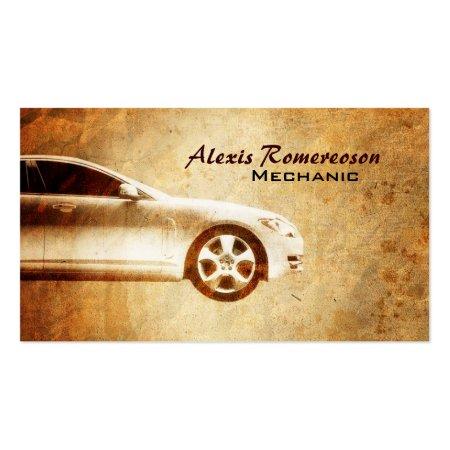 Golden Grunge Car Repair Business Cards