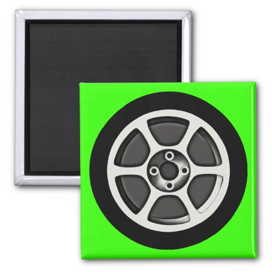 Car Rim & Tire 2 Inch Square Magnet