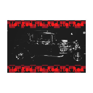 Car Rod Art Canvas Black and White Red