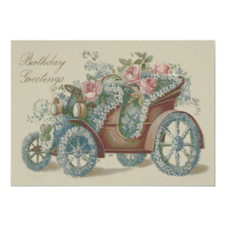 Car Rose Forget Me Not Floral Flowers Card