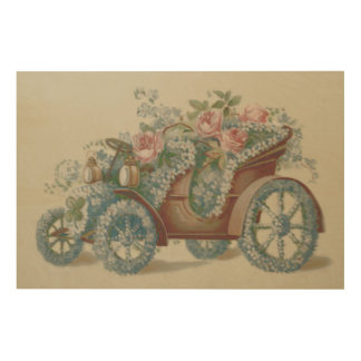 Car Rose Forget Me Not Floral Flowers Wood Print