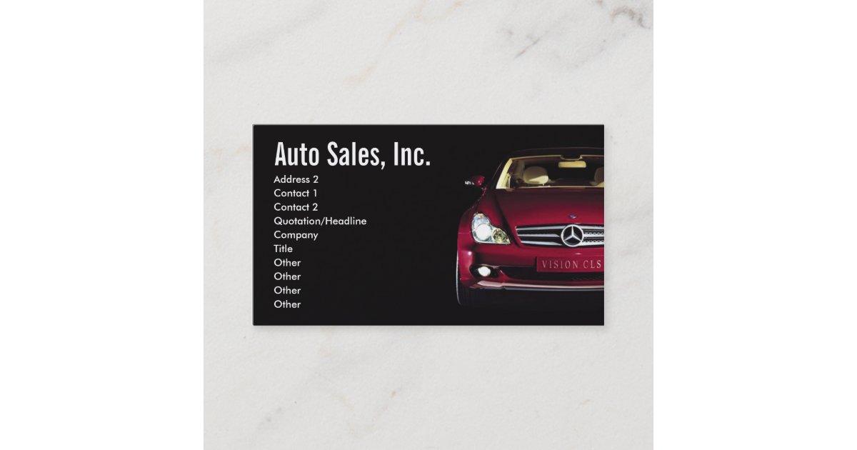 Concept Car Auto Sales Business Card   Zazzle  Car Sales Business Cards