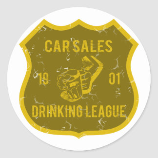 Car Sales Drinking League Classic Round Sticker
