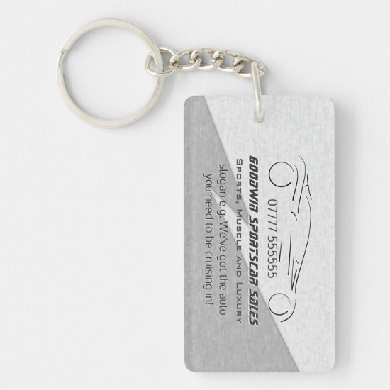 Car Sales Marketing Giveaway - silver sportscar Keychain