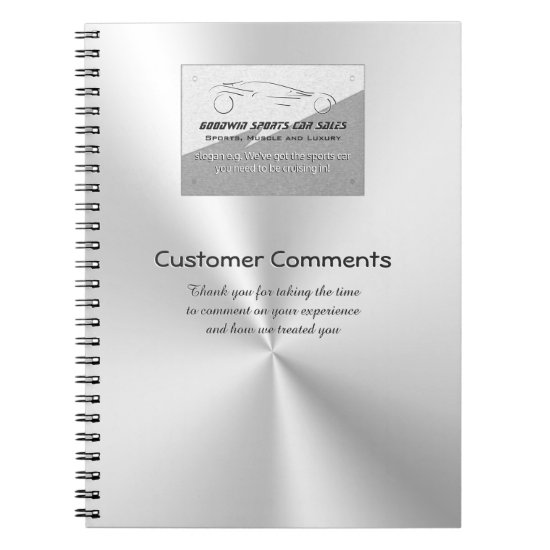 Car Sales Showroom Customer Comments - faux metal Spiral Notebook