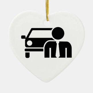 Car salesman ceramic ornament