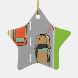 Car scans speed limit sign ceramic ornament