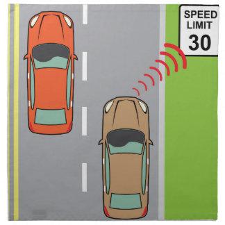 Car scans speed limit sign cloth napkin