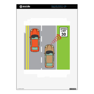 Car scans speed limit sign iPad 2 decals