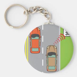 Car scans speed limit sign keychain