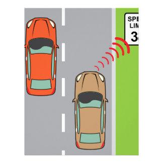 Car scans speed limit sign letterhead