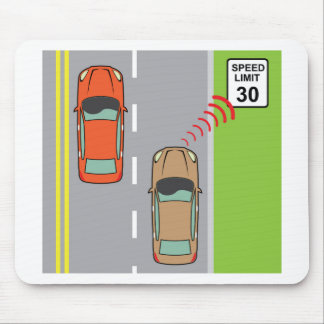 Car scans speed limit sign mouse pad