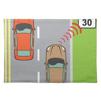 Car scans speed limit sign placemat