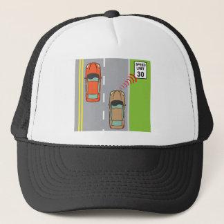 Car scans speed limit sign trucker hat